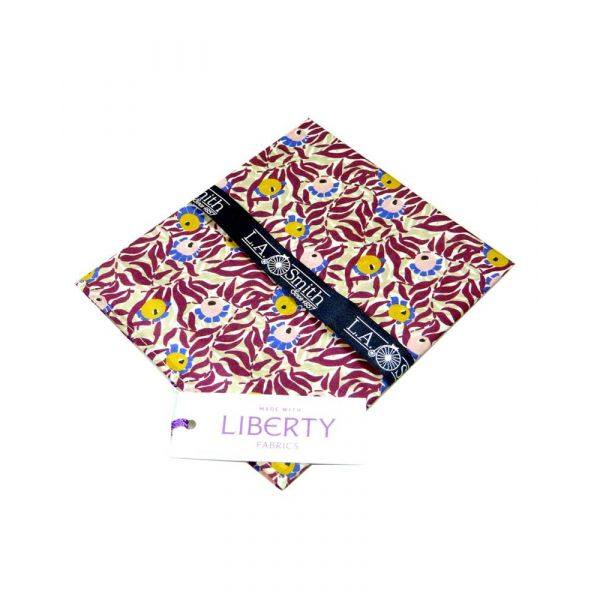 Made with Liberty Fabric Huckleberry Design in Plum Cotton Hankie