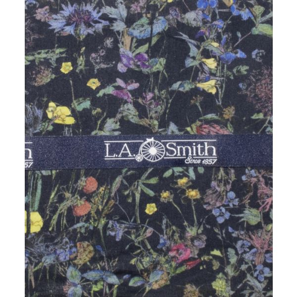 Liberty Print Wild Flower Design in Navy Cotton Hankie