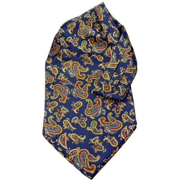 Navy large paisley silk cravat by Soprano