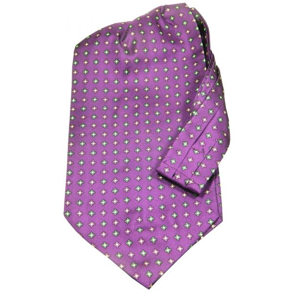 Purple with Diamond Design Silk Cravat from Knightsbridge Neckwear