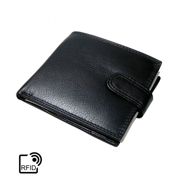 Black Leather Note Case 3 card with RFID Protection by Golunski