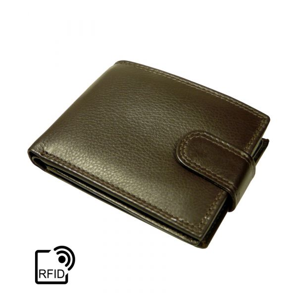 Brown Leather Note Case with RFID Protection by Golunski. Six Card Plus
