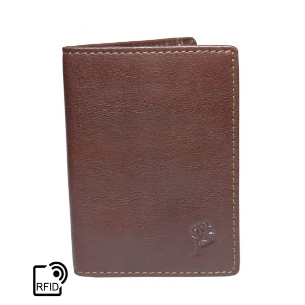 Tan Leather Folding Oyster Card Holder with RFID Protection by Golunski
