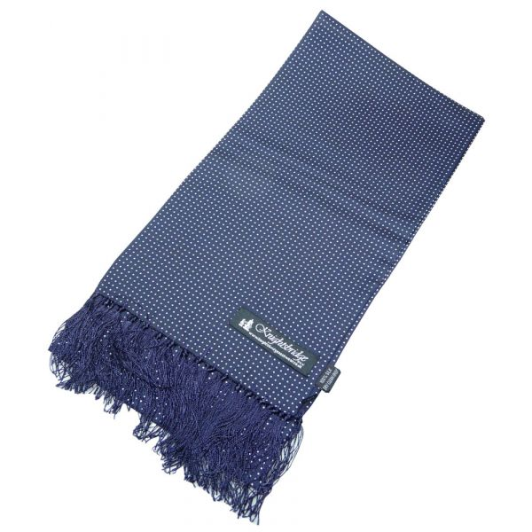 Navy with White Dots Silk Aviator Scarf from Knightsbridge Neckwear
