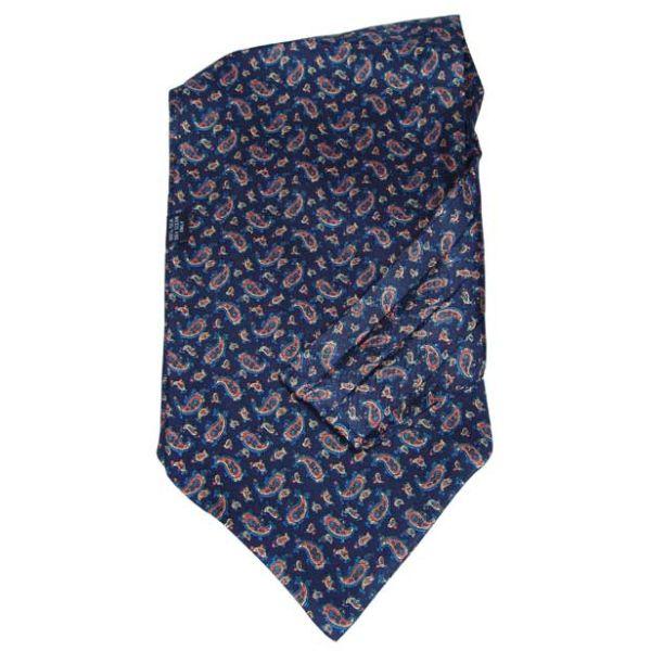 Navy small paisley silk cravat by Soprano