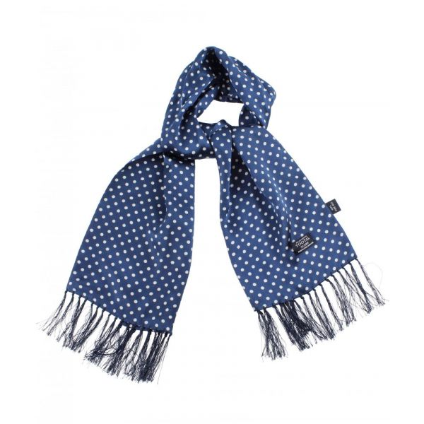Tootal Silk Scarf in Navy with White Polka Dots