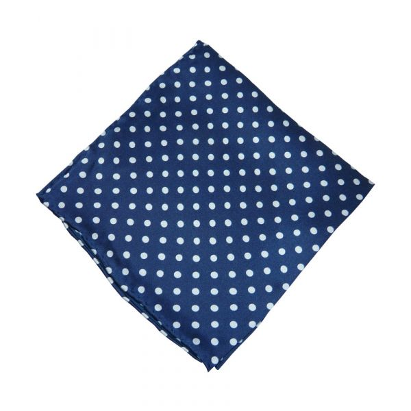 Tootal Silk Hankerchief in Navy with White Polka Dots