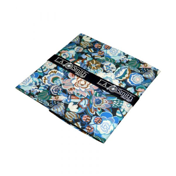 Liberty Cotton Pocket Square - Gatesby Garden in Blue