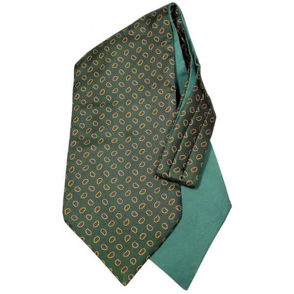 Van Buck Silk Cravat. Bottle Green with Birdseye Paisley Design