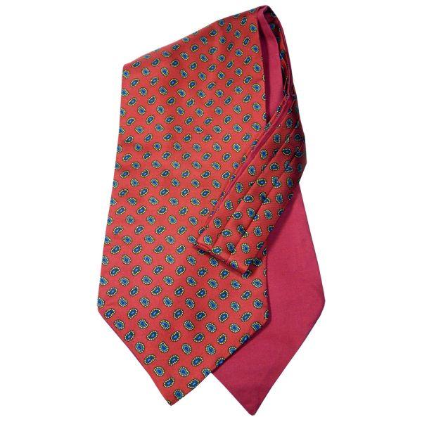 Van Buck Silk Cravat with Cotton Back in Bright Red with Birdseye Paisley Design