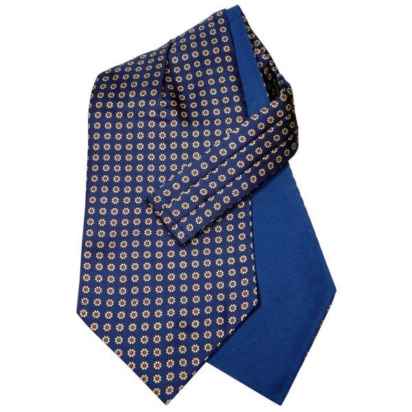 Van Buck Silk Cravat with Cotton Back in Navy with Daisy Design