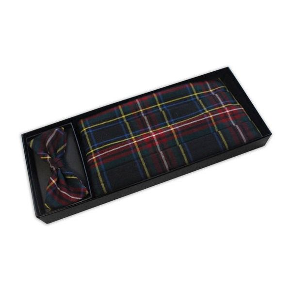 Multi Colour Tartan Bow tie and Cummerbund Set