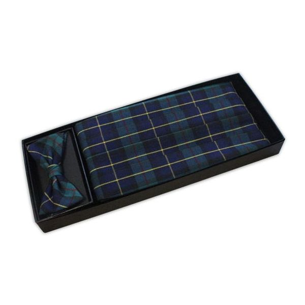 Blue and Green Tartan Bow tie and Cummerbund Set