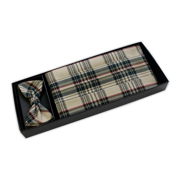 Beige Tartan Bow tie and Cummerbund Set