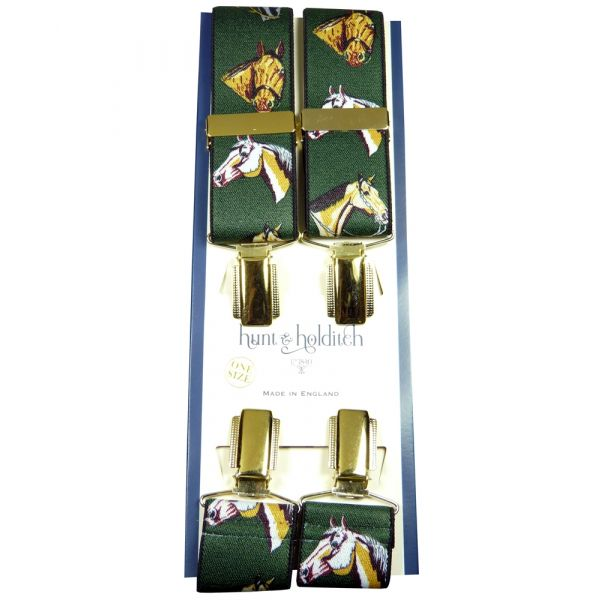 Green Horses Design Gilt Clip Braces from Hunt and Holditch