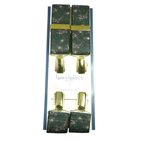 Green Paisley Design Gilt Clip Braces from Hunt and Holditch