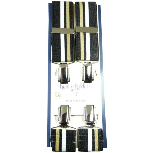 Black with Silver and Gold Stripe Nickle Clip Braces from Hunt and Holditch