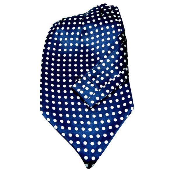 Navy with Medium White Polka Dots Silk Cravat from Knightsbridge Neckwear