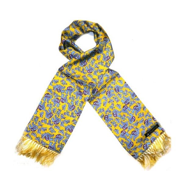 Mustard Paisley Silk Aviator Scarf from Knightsbridge Neckwear - ACC1871