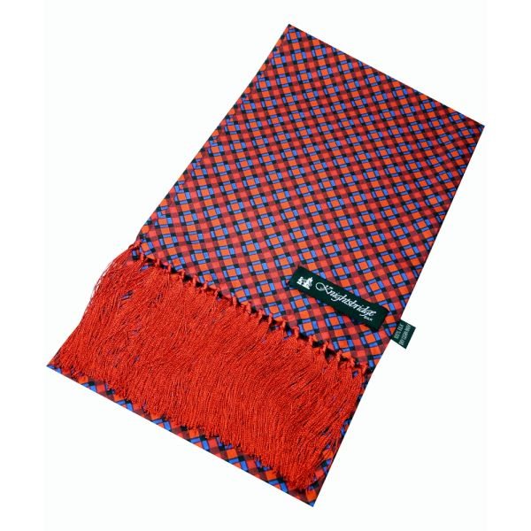 Knightsbridge Neckwear - Silk Aviator Scarf in Red with Blue Grid Design