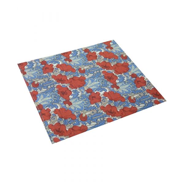 Liberty Cotton Pocket Square - Clementina Red Poppies