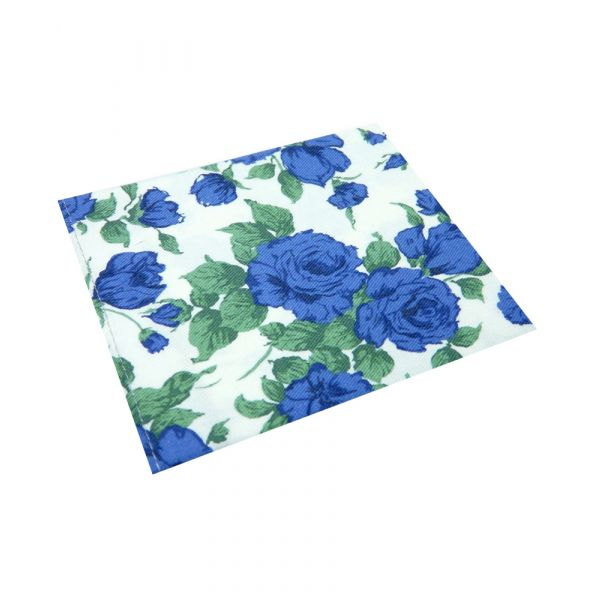 Made with Liberty Fabric Linen Cotton Pocket Square - Blue Carline Roses