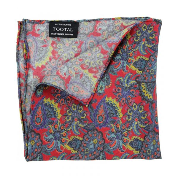 Tootal Silk Pocket Square - Burgundy Retro Paisley