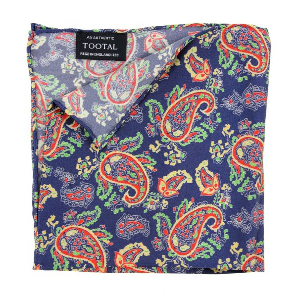 Tootal Silk Pocket Square - Navy Bold Paisley