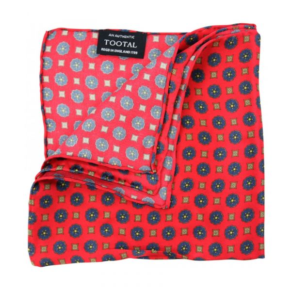 Tootal Silk Pocket Square - Red Mini Geo