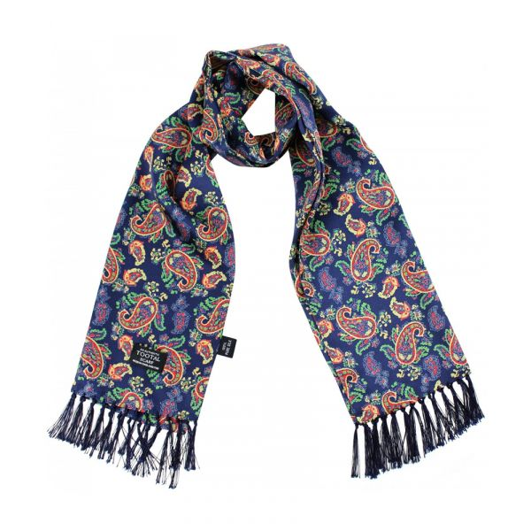 Tootal Silk Scarf - Navy Bold Paisley