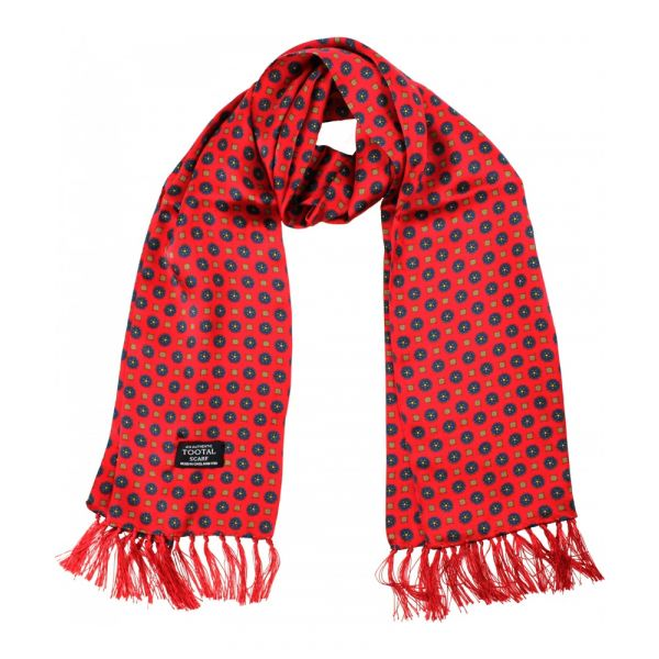 Tootal Silk Scarf - Red Mini Geo