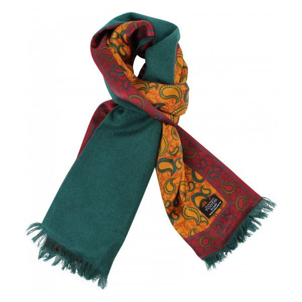 Tootal Silk Scarf with Brushed Silk Back - Gold Red and Green