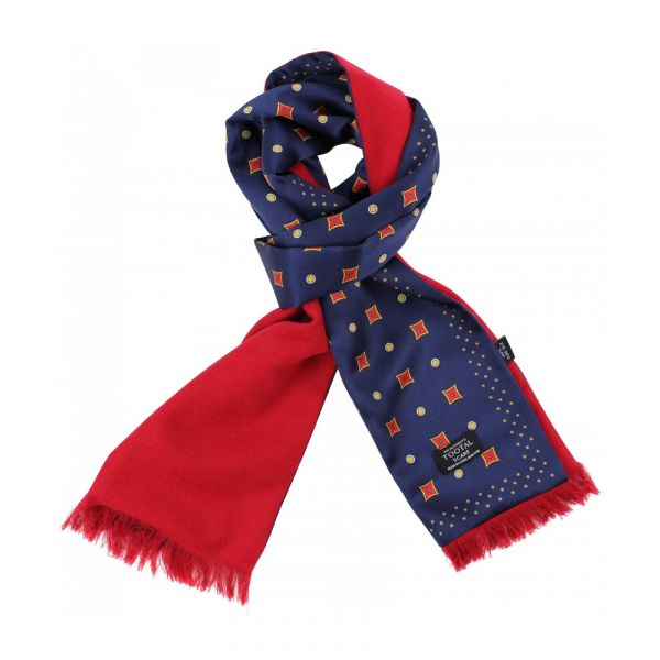 Tootal Silk Scarf with Brushed Silk Back - Deep Blue with Dots and Diamonds