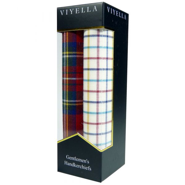 Two Pack of Viyella Handkerchiefs - Red Tartan/Check