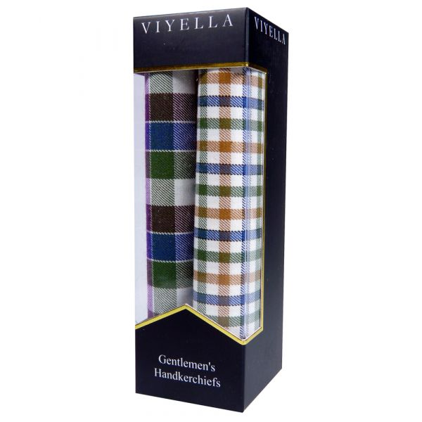 Two Pack of Viyella Handkerchiefs - Purple/Green