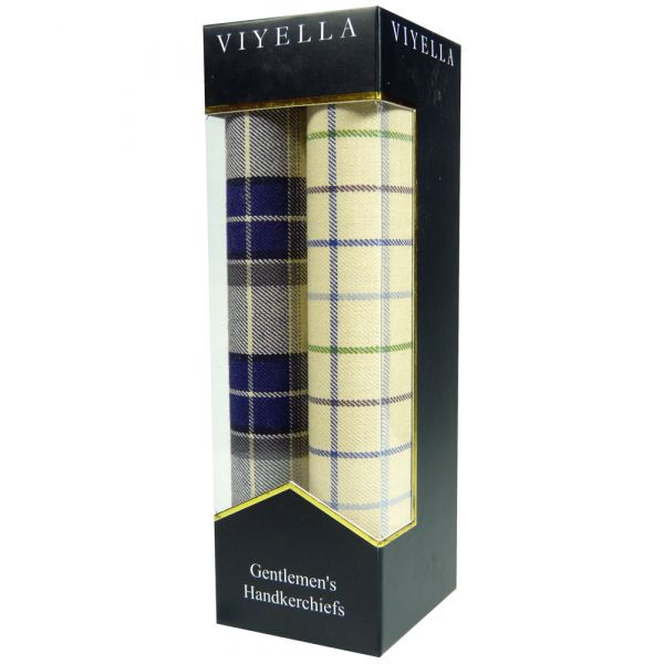 Two Pack of Viyella Handkerchiefs - Blue/Sand