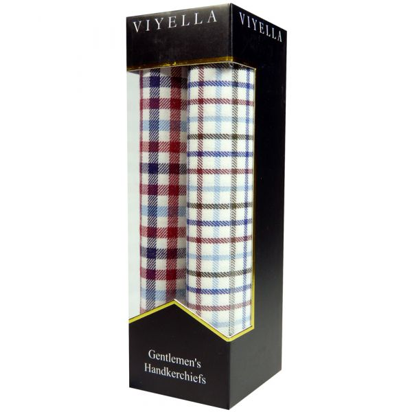 Two Pack of Viyella Handkerchiefs - Wine/Blue