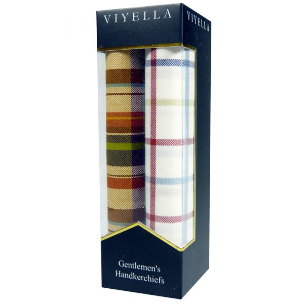 Two Pack of Viyella Handkerchiefs - Peach/Red