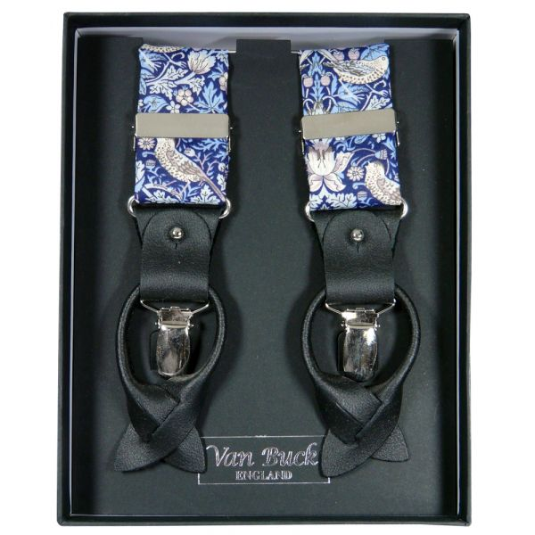 Blue Strawberry Thief Liberty Fabric Braces from Van Buck - Limited Edition
