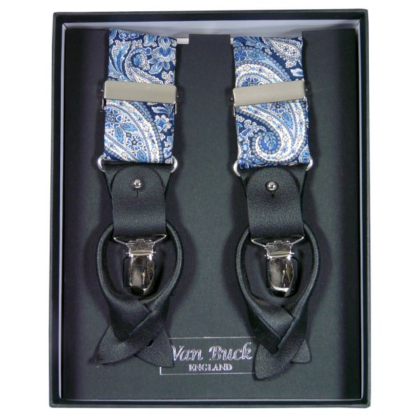 Blue Paisley Liberty Fabric Braces from Van Buck - Limited Edition