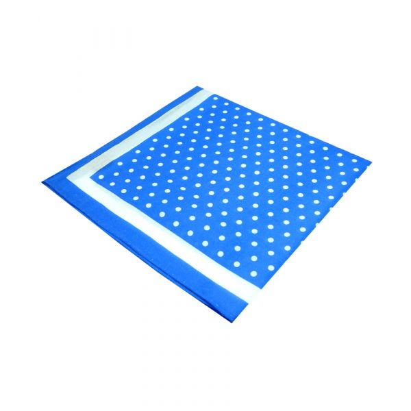 Bright Blue with White Spots Silk and Cotton Hankie from Le Chateau