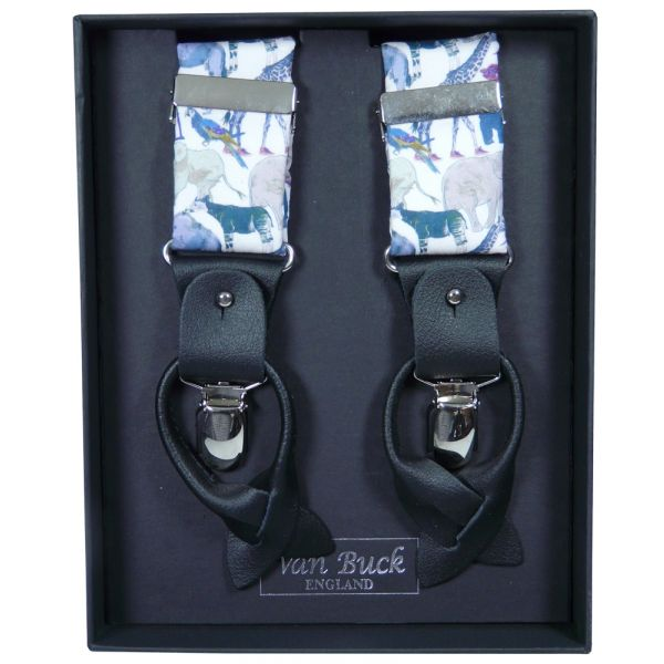 Queue for the Zoo in Blue Liberty Fabric Braces from Van Buck - Limited Edition