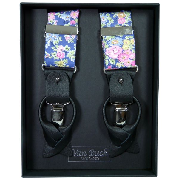 Blue and Lemon Floral Liberty Fabric Braces from Van Buck - Limited Edition