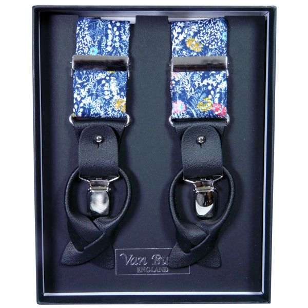 Navy Floral Liberty Fabric Braces from Van Buck - Limited Edition