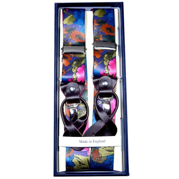 Purple Floral Silk Convertible Braces with Purple Leather and Gilt Clips - Limited Editions from Hunt and Holditch