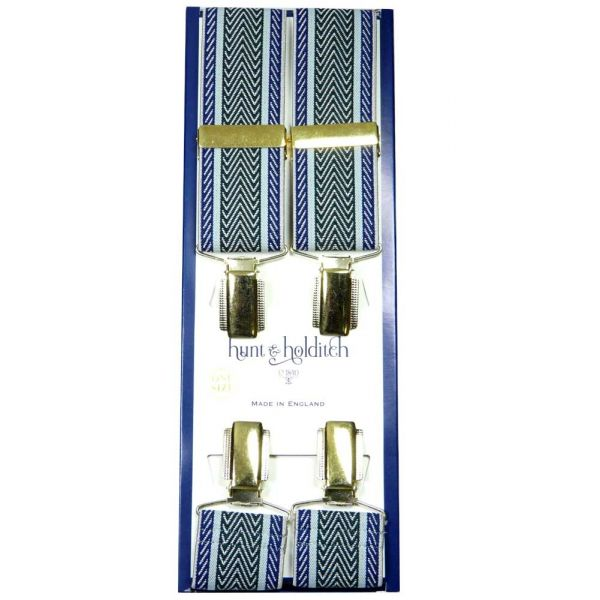 Navy Edge with Green Mid Stripe Herringbone Design Gilt Clip Braces from Hunt & Holditch