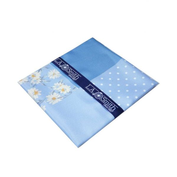 Blue Floral Fourway Handkerchief from L A Smith