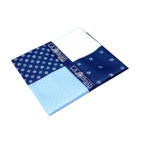 Blue Fleur-de-Lys Fourway Handkerchief from L A Smith