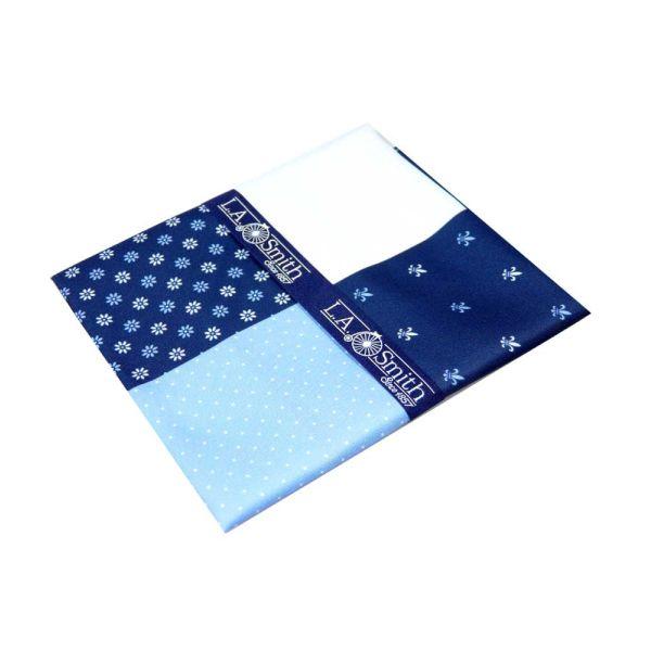 Blue Fleur-de-Lys Fourway Handkerchief from L A Smith