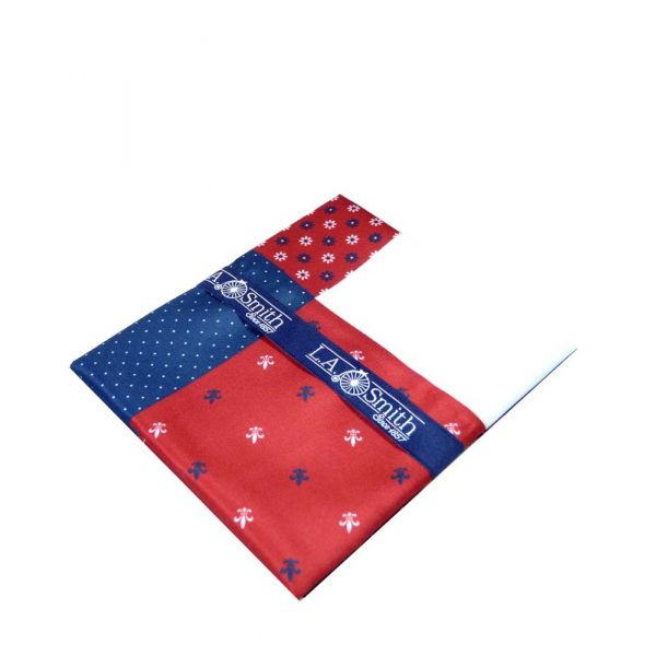 Red Fleur-de-Lys Fourway Handkerchief from L A Smith